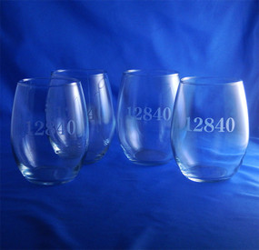 Personalized Zip Code Stemless Wine Glasses