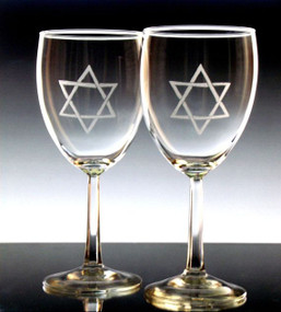 Etched Star of David Nuance Wine Glasses