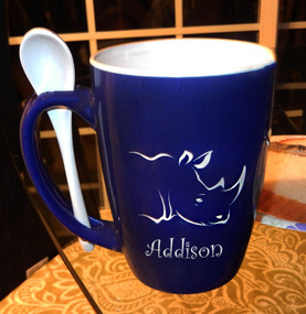 Personalized Royal Blue Animal Mug with Spoon
