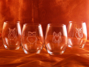 Wise Owls Stemless White Wine Glass Set