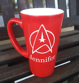 Personalized Red Star Trek Mug
