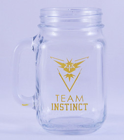 Personalized Pokemon Team Instinct Mason Jar Mug