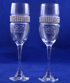 Personalized 25TH Anniversary Flutes with Jewelled Band