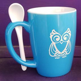 Personalized Sky Blue Owl Mug
