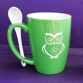 Personalized Green Owl Mug