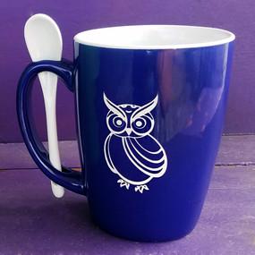 Personalized Royal Blue Owl Mug