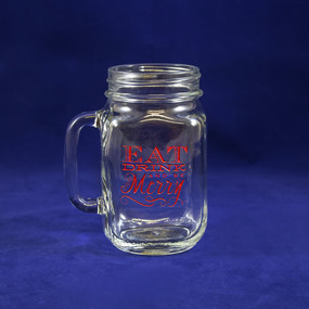 Eat, Drink, and Be Merry Mason Jar Glass in Red