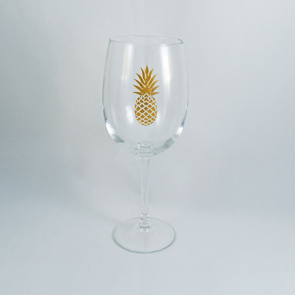 Gold pineapple stemmed wine glass the crystal shoppe Big w wine glasses