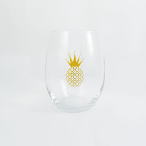 Golden Crown Pineapple Stemless Wine Glass