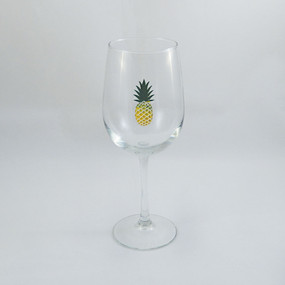 Yellow and Green Pineapple Stemmed Wine Glass