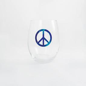 Tie Dye Purple Peace Sign Stemless Wine Glass