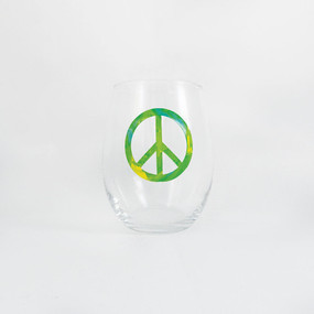 Tie Dye Green Peace Sign Stemless Wine Glass