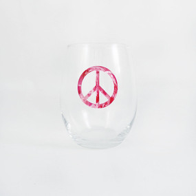 Tie Dye Pink Peace Sign Stemless Wine Glass