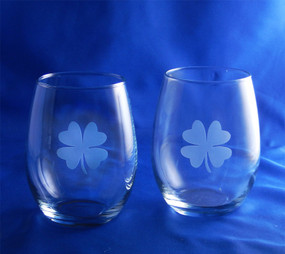 Four Leaf Clover Stemless Wine Set