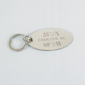 Personalized Coordinate Oval Key Chain