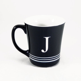 Personalized Striped Black Coffee Mug