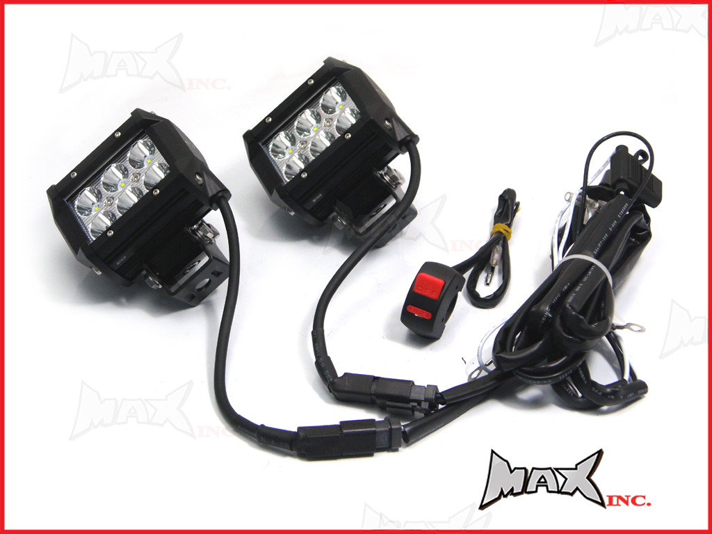 Motorcycle Universal 18w CREE LED Spot / Driving Lights + Complete ...