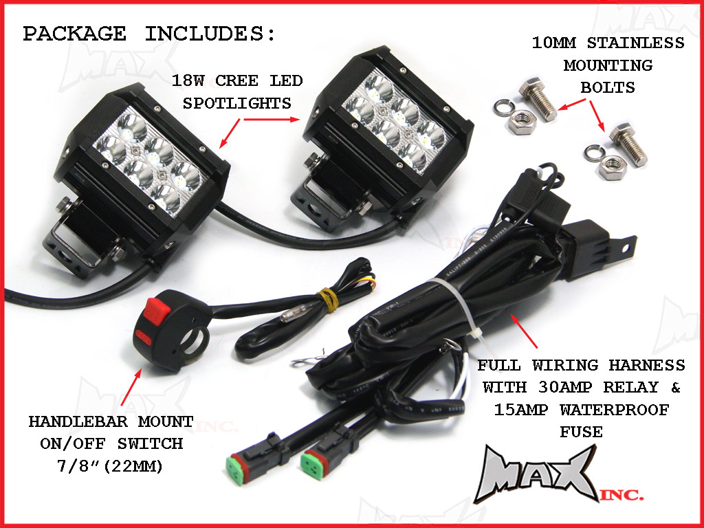 motorcycle universal 18w cree led spot driving lights complete see 10 more pictures