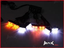8 Piece Grill Mount LED Emergency Flashing Strobe Light Set - White & Amber