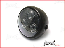 6.75 INCH Matte Black Universal Classic Metal 3 Eye LED Headlight