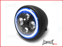 7.7 INCH High Quality Quad Projector LED Matte Black Metal Headlight + Blue Halo