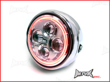 7.7 INCH High Quality Quad Projector LED Chrome Metal Headlight + Red Halo