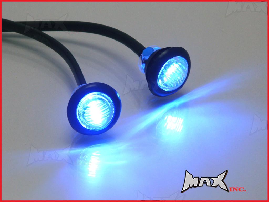 blue 12v round flush mount led mini marker lights