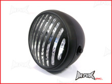 7.7 INCH Matte Black Prison Bar Grill Metal Headlight - H4 / 55w Halogen Sealed Beam