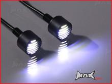 Black Micro Billet Aluminium 6mm Grill Bolts - White Integrated LED DRL Marker Lights