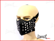 Black Studded Bikers Face Mask - PU Leather