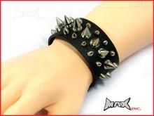Black Spiked Bikers Wristband - PU Leather