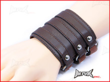 Brown Triple Strap Bikers Wristband - PU Leather