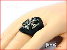 Black Maltese Cross Bikers Finger Ring - PU Leather