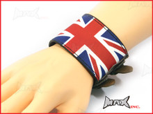 Union Jack Bikers Black Wristband - PU Leather