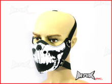 Black Skull Bikers Face Mask - PU Leather