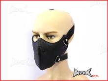 Black Plain Bikers Face Mask - PU Leather