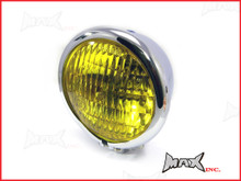 4.75 INCH Chrome Bates Style Metal Headlight - Yellow Lense
