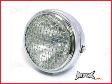 7.7 INCH Chrome Mesh Grill Metal Headlight - H4 / 55w Halogen Sealed Beam