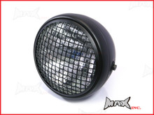 7.7 INCH Matte Black Mesh Grill Metal Headlight - H4 / 55w Halogen Sealed Beam