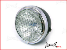 7.7 INCH Black + Chrome Mesh Grill Metal Headlight - H4 / 55w Halogen Sealed Beam