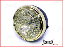 7.7 INCH Black + Brass Chrome Mesh Grill Metal Headlight - H4 / 55w Halogen Sealed Beam