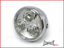 6.75 INCH Chrome Universal Classic Metal 3 Eye LED Headlight