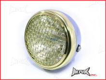 7.7 INCH Chrome + Brass Chrome Mesh Grill Metal Headlight - H4 / 55w Halogen Sealed Beam