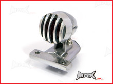 Polished Aluminium Mini Prison Grill LED Stop / Tail Light - Red Lense