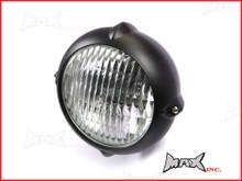 5.5 INCH Matte Black Aluminium Vintage Style Bottom Mount Headlight - 12v / 35w
