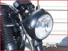 6.7 INCH Matte Black Aluminium Vintage Style Bottom Mount Headlight - 12v / 55w
