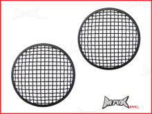 7 INCH Matte Black Mesh Grill Metal Headlight Covers - Pair