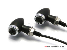 MAX Chubby Matte Black + Chrome Machined Aluminium Micro LED Indicators / Turn Signals