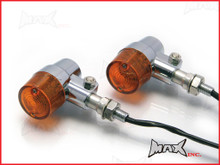 Chrome Alloy Retro LED Turn Signals / Indicators - Amber Lense