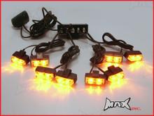 8 Piece Grill Mount LED Emergency Flashing Strobe Light Set - Amber